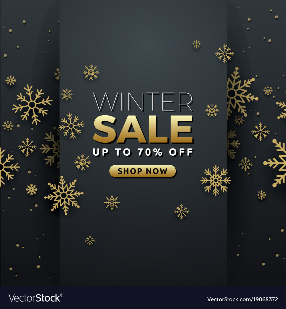 Winter sale background banner template design vector image