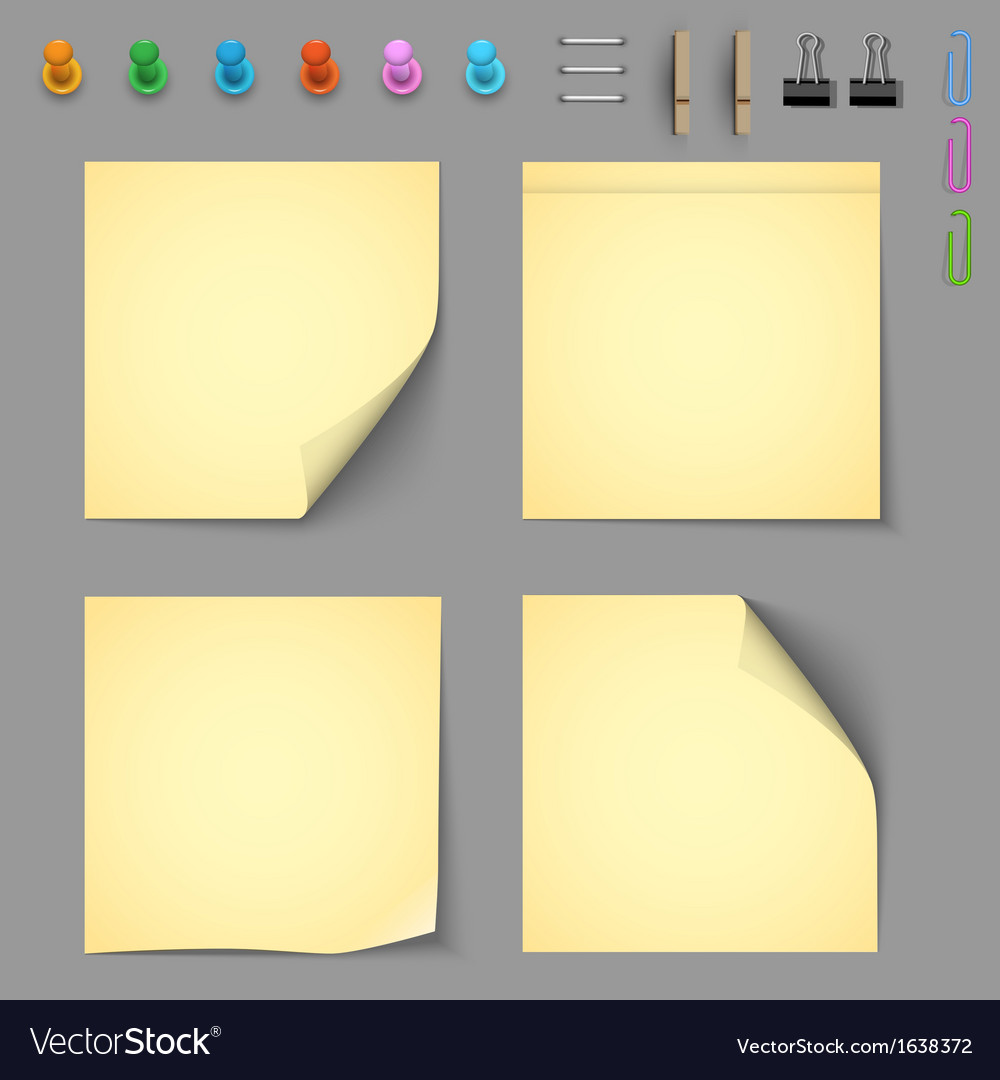 Yellow notice papers with elements for attaching