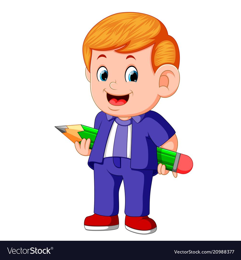 A young teacher holding big pencil vector image