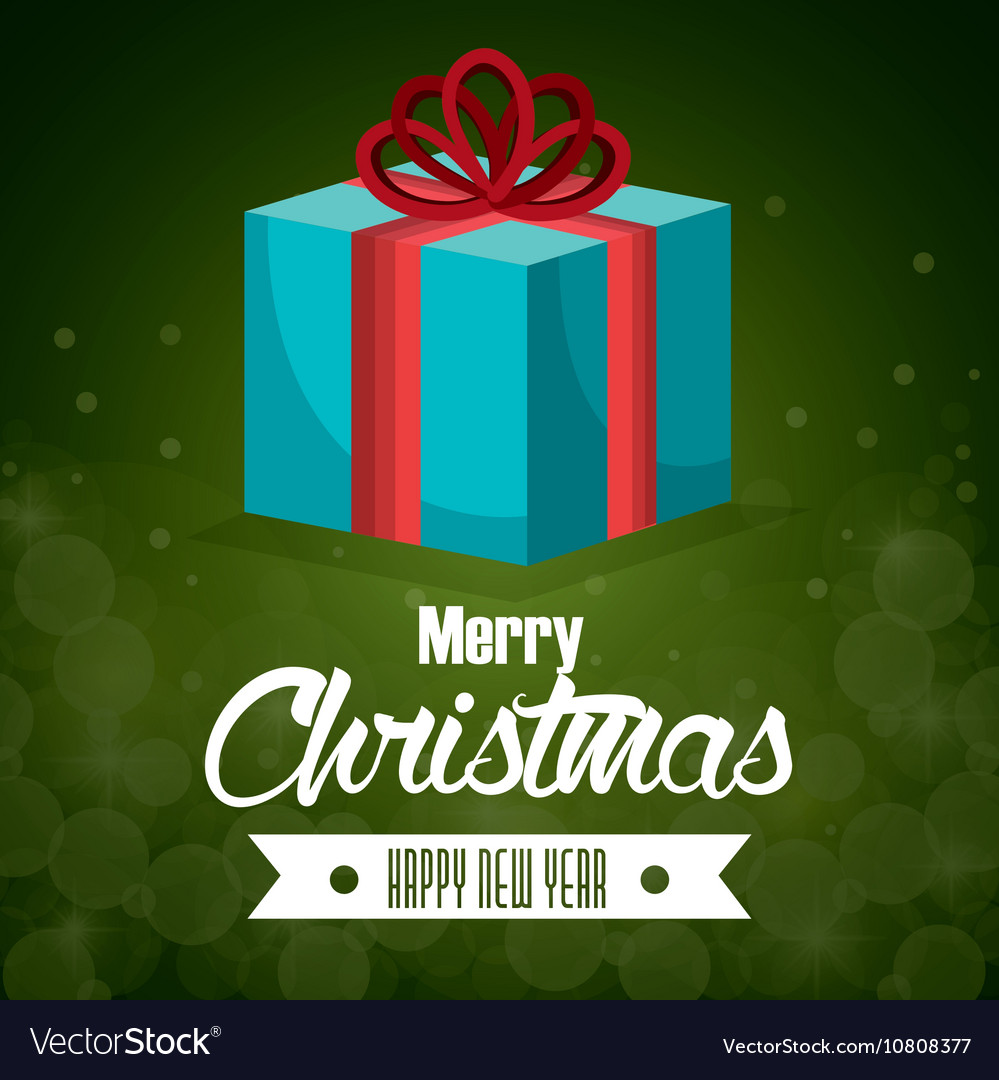 Big gift blue bow card merry christmas green