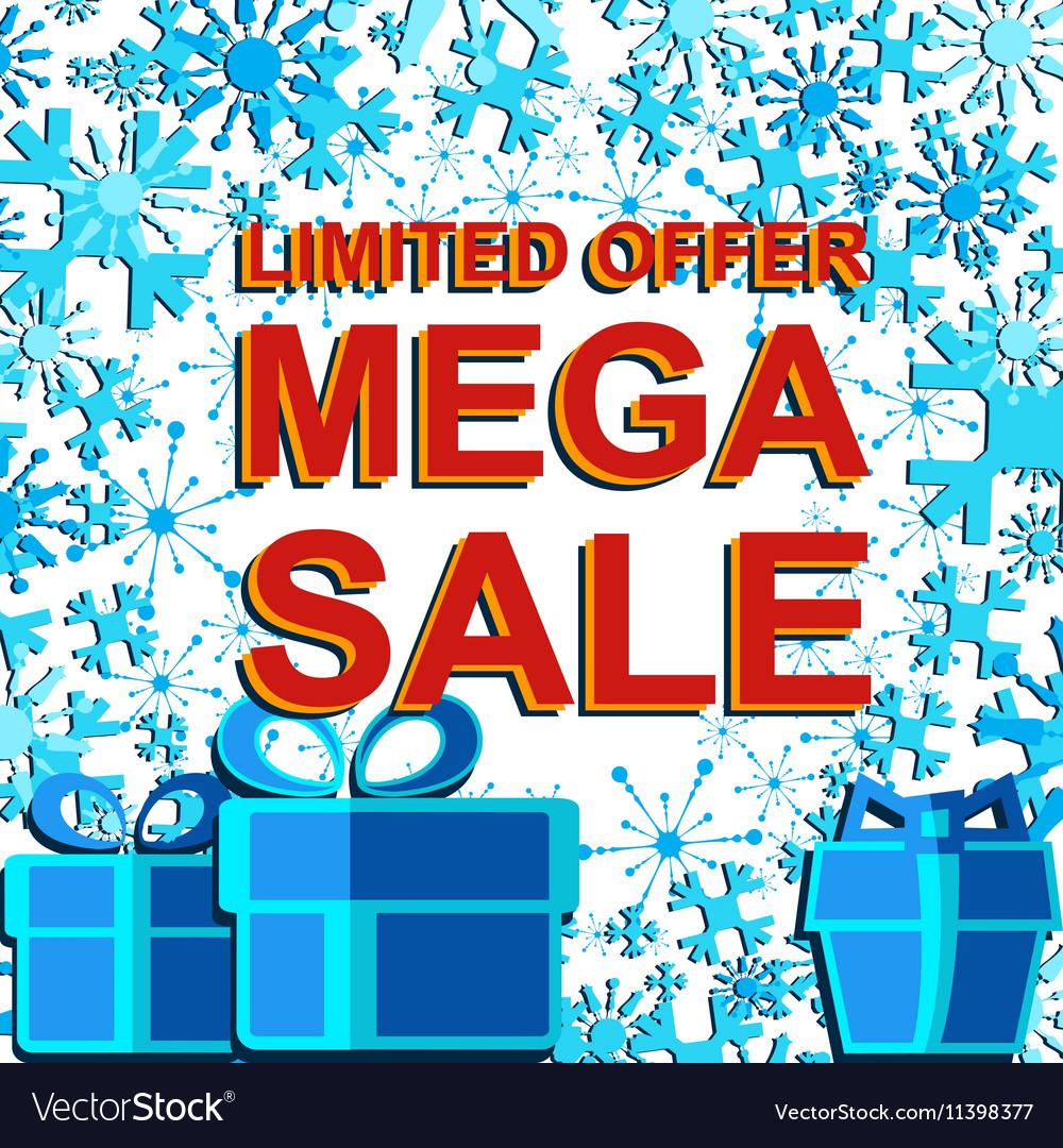 Big winter sale poster with LIMITED OFFER MEGA