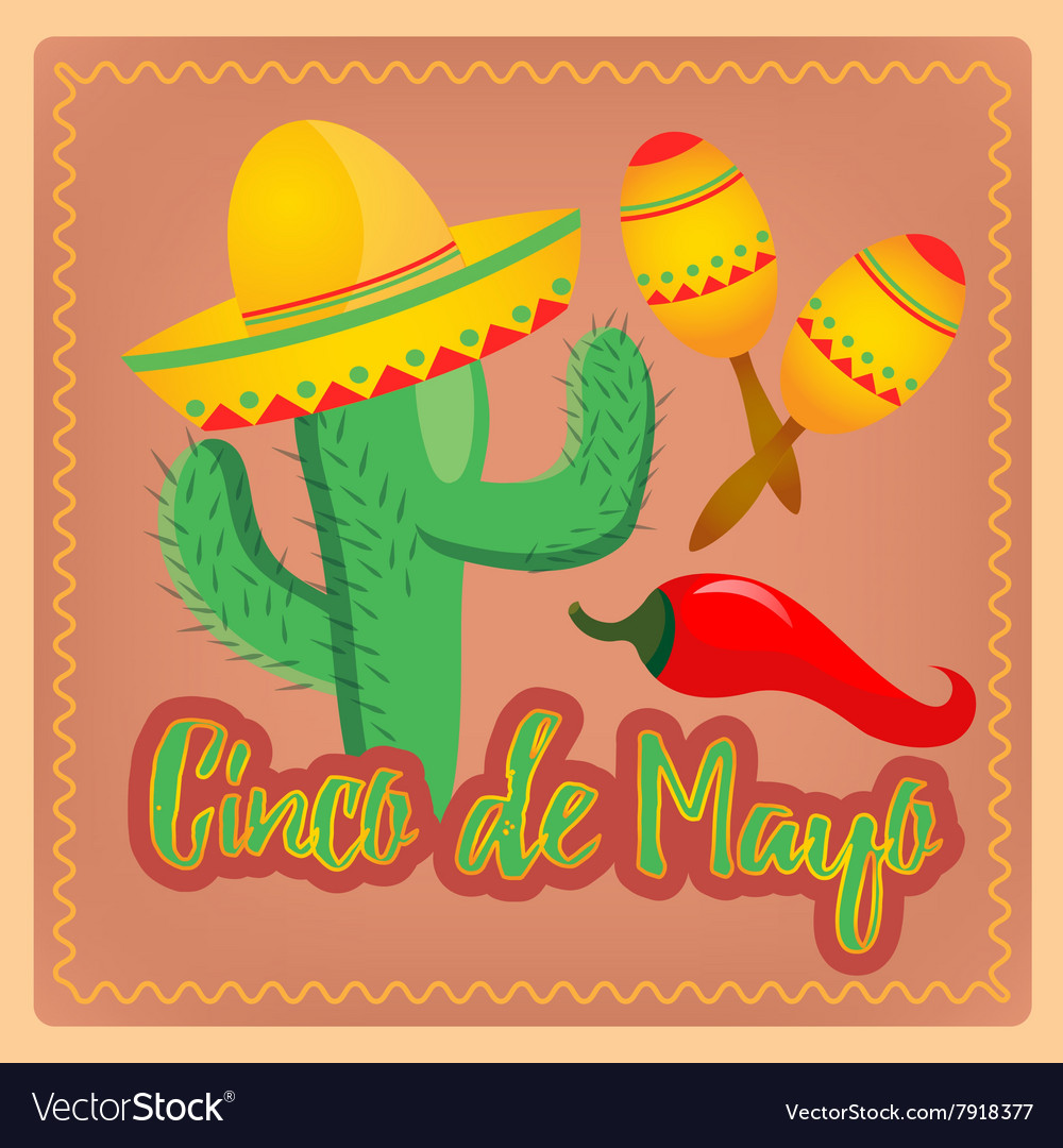 cactus in sombrero hat mexican maracas and chili p