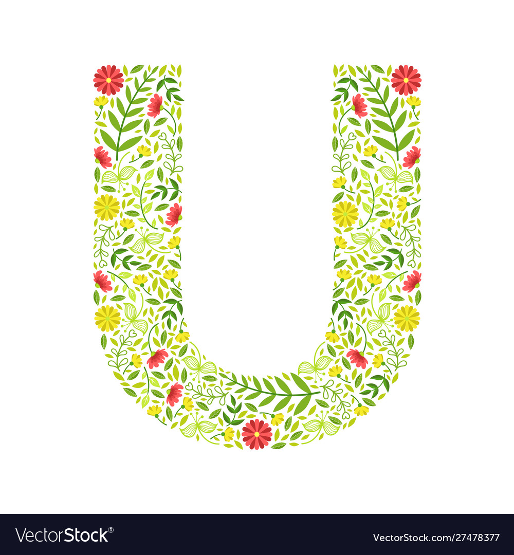 Capital letter u green floral alphabet element
