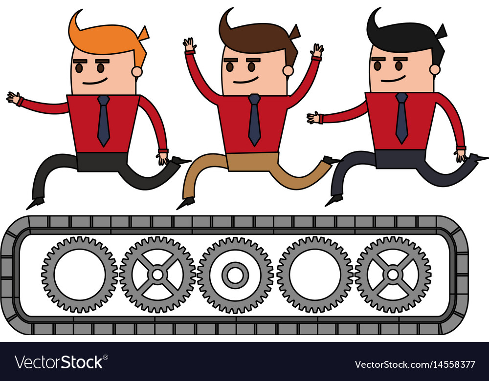 Color image cartoon teamwork riding an belt with