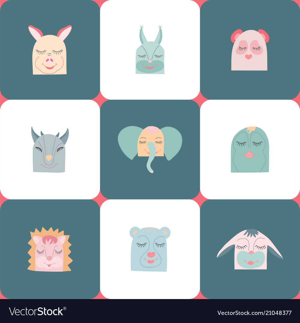 Colorful set of nine cute animals heads vector image