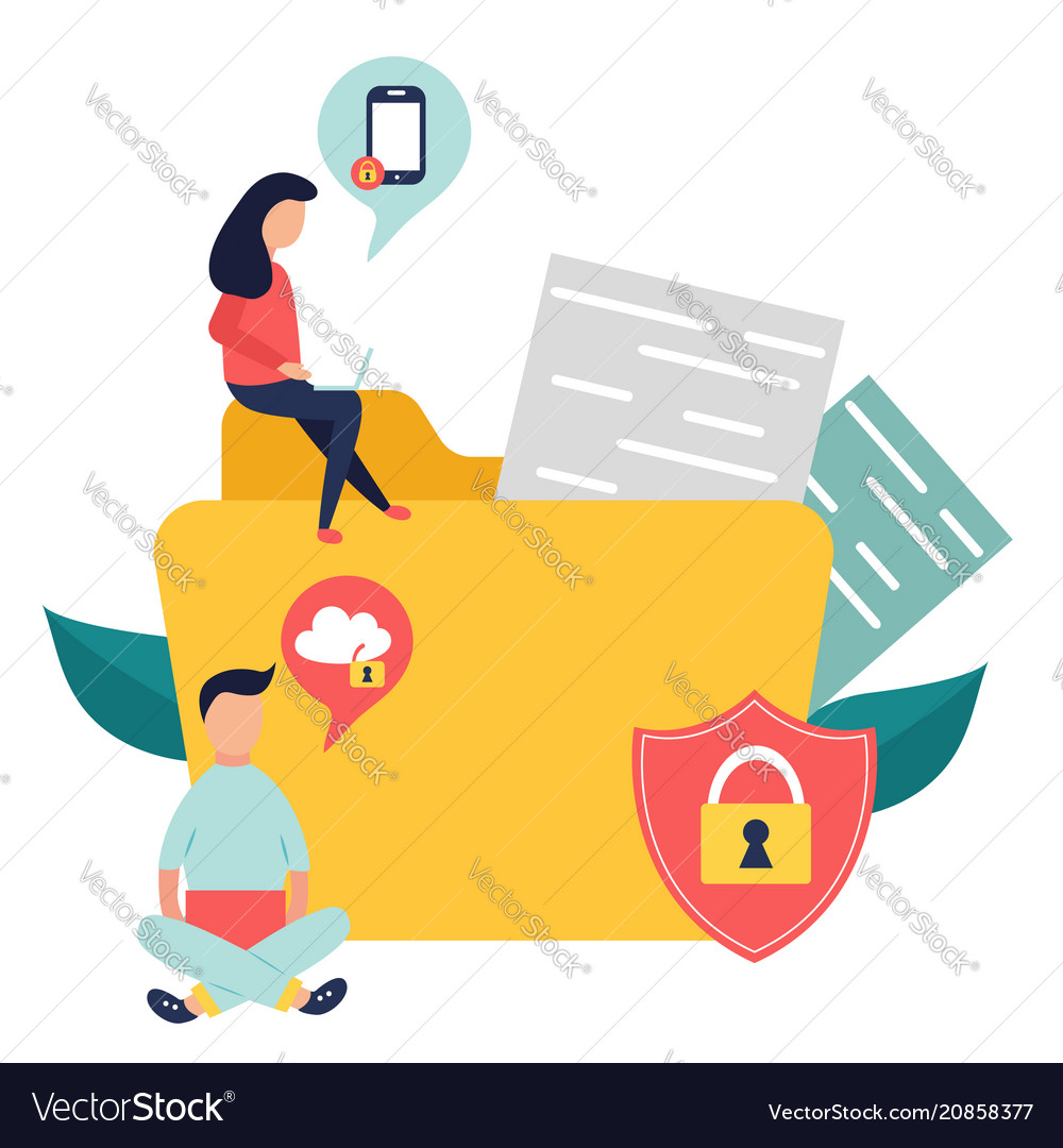 Data protection banner locked information files vector image