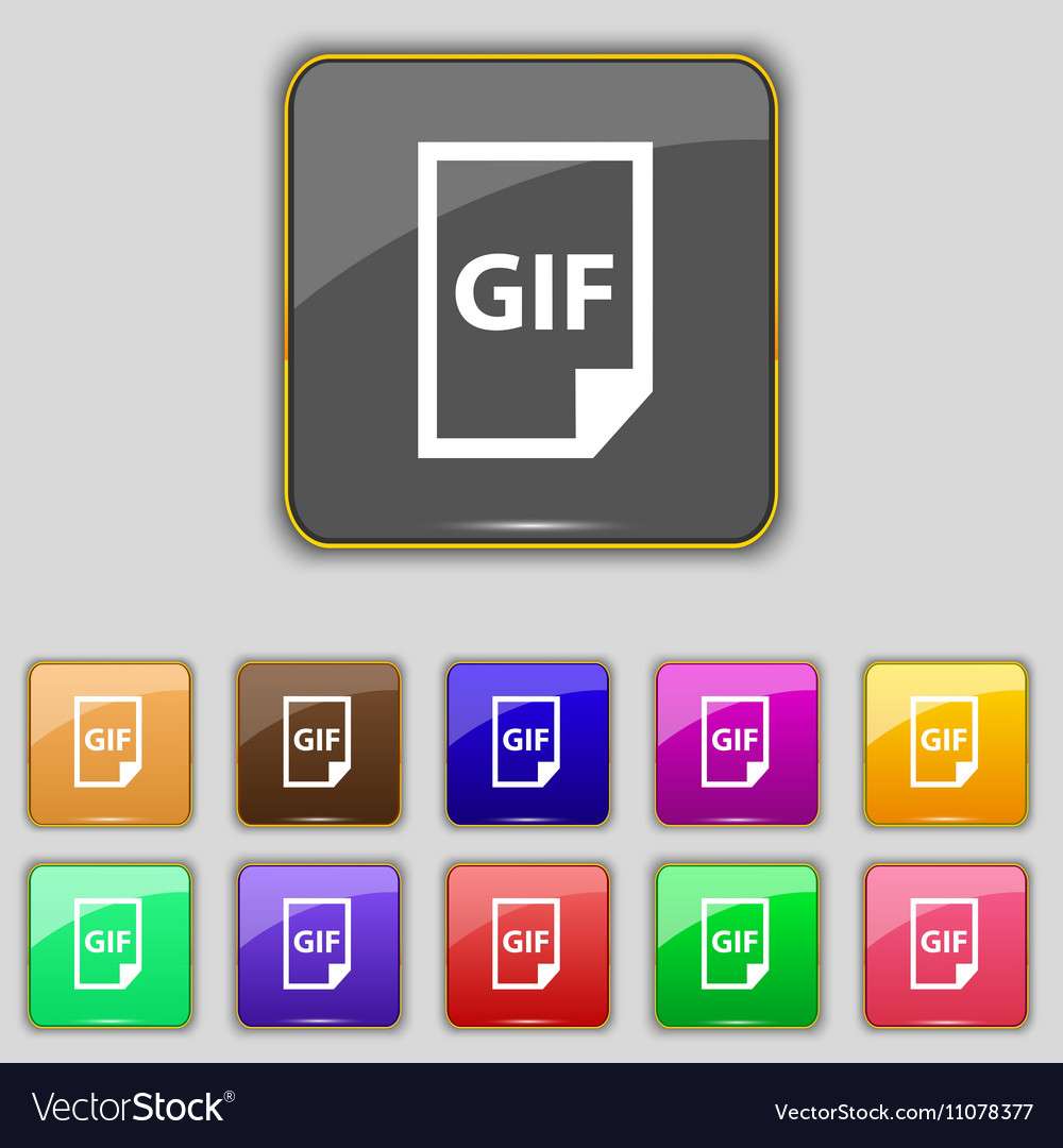 File GIF icon sign Set with eleven colored buttons