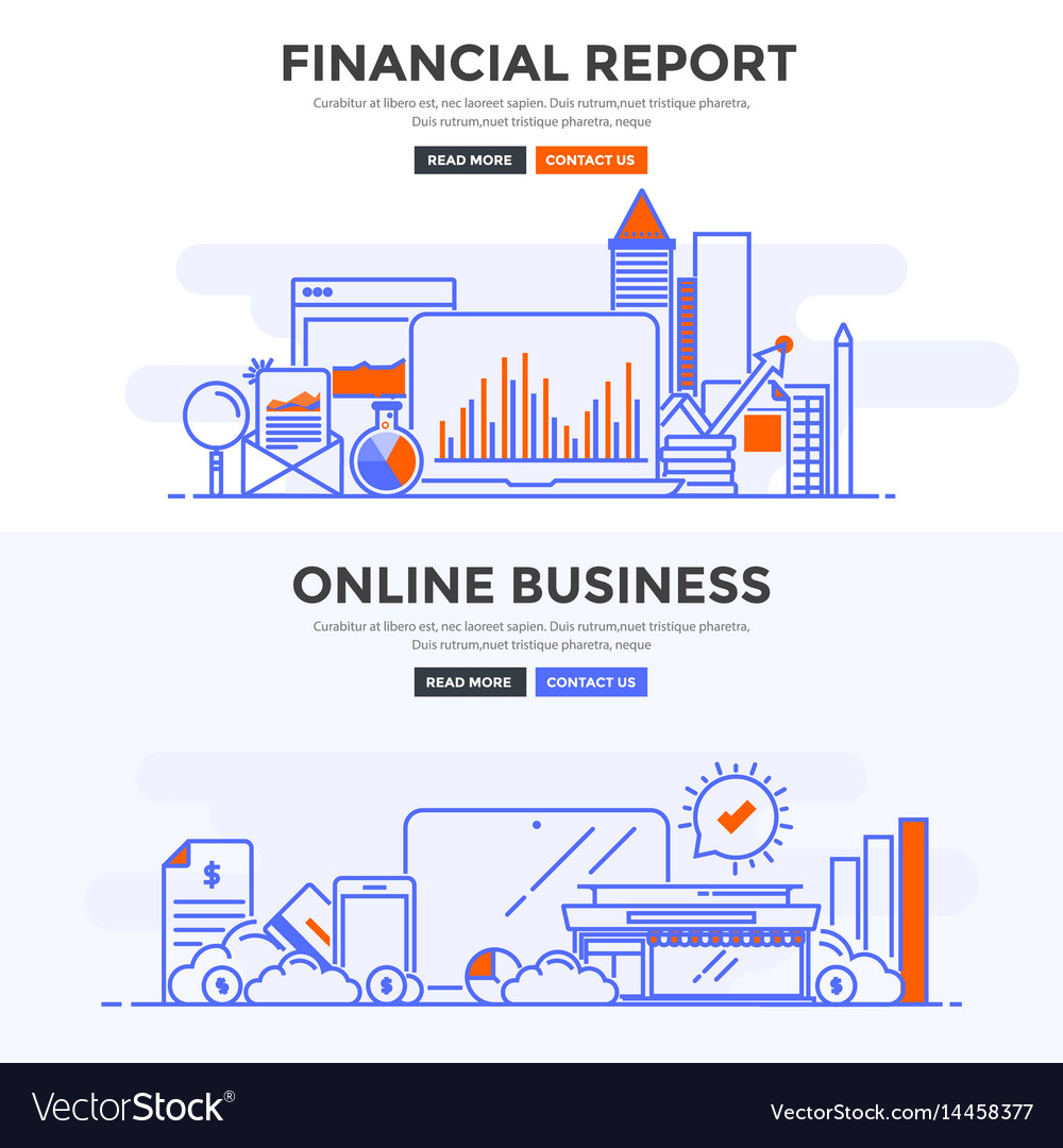 Flat design concept banner -financial report and