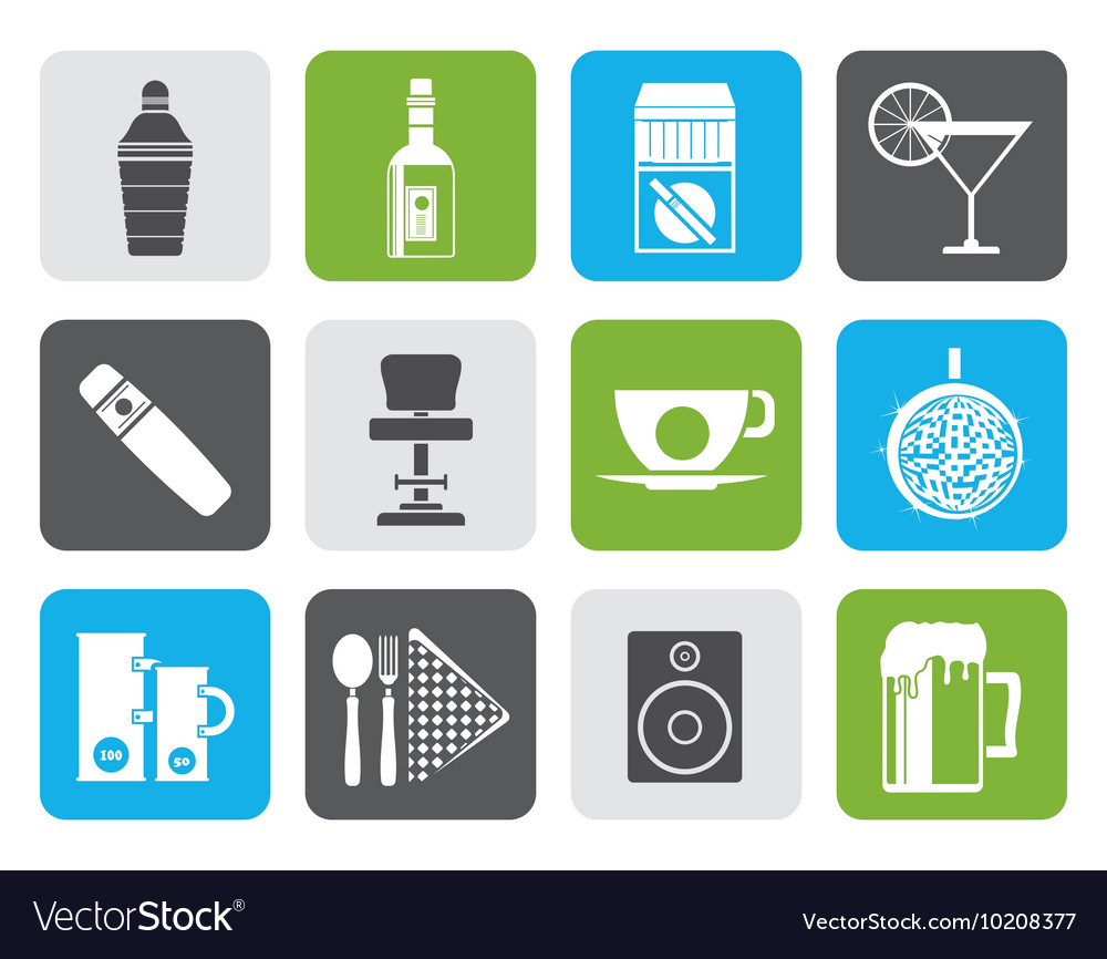 Flat Night club bar and drink icons vector image