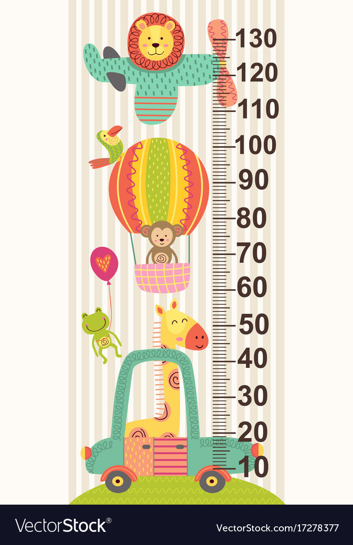 Growth measure with baby jungle animals