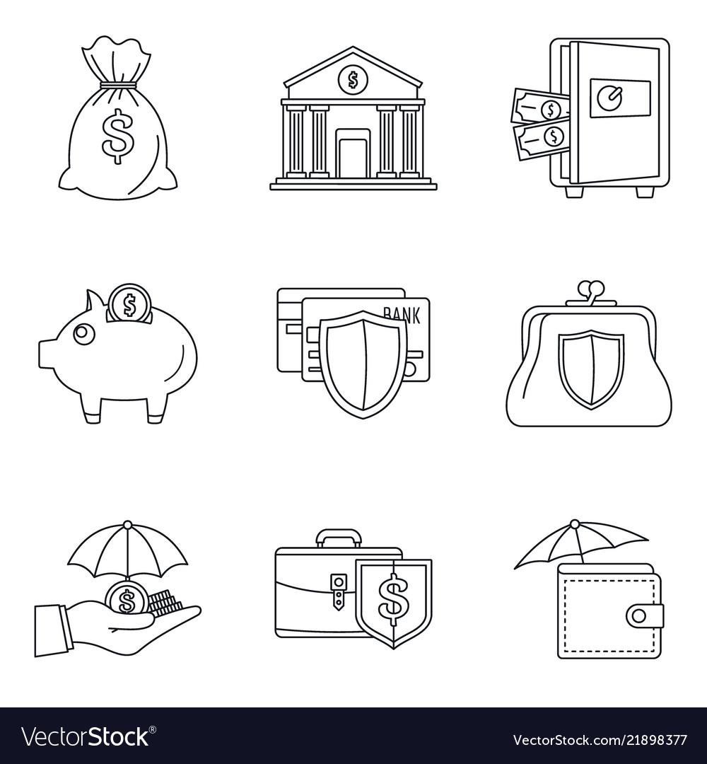 Money deposit icon set outline style