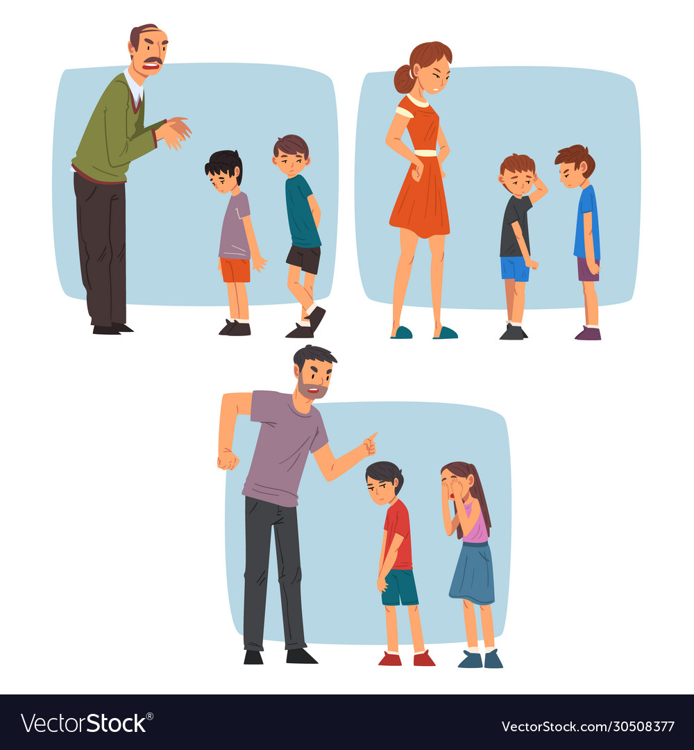Parents scolding naughty boys set adult people