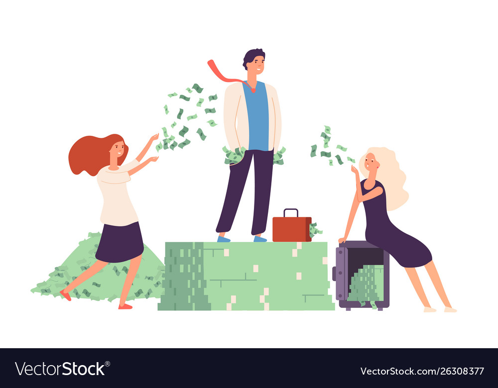 Rich concept businessman standing on money dollar