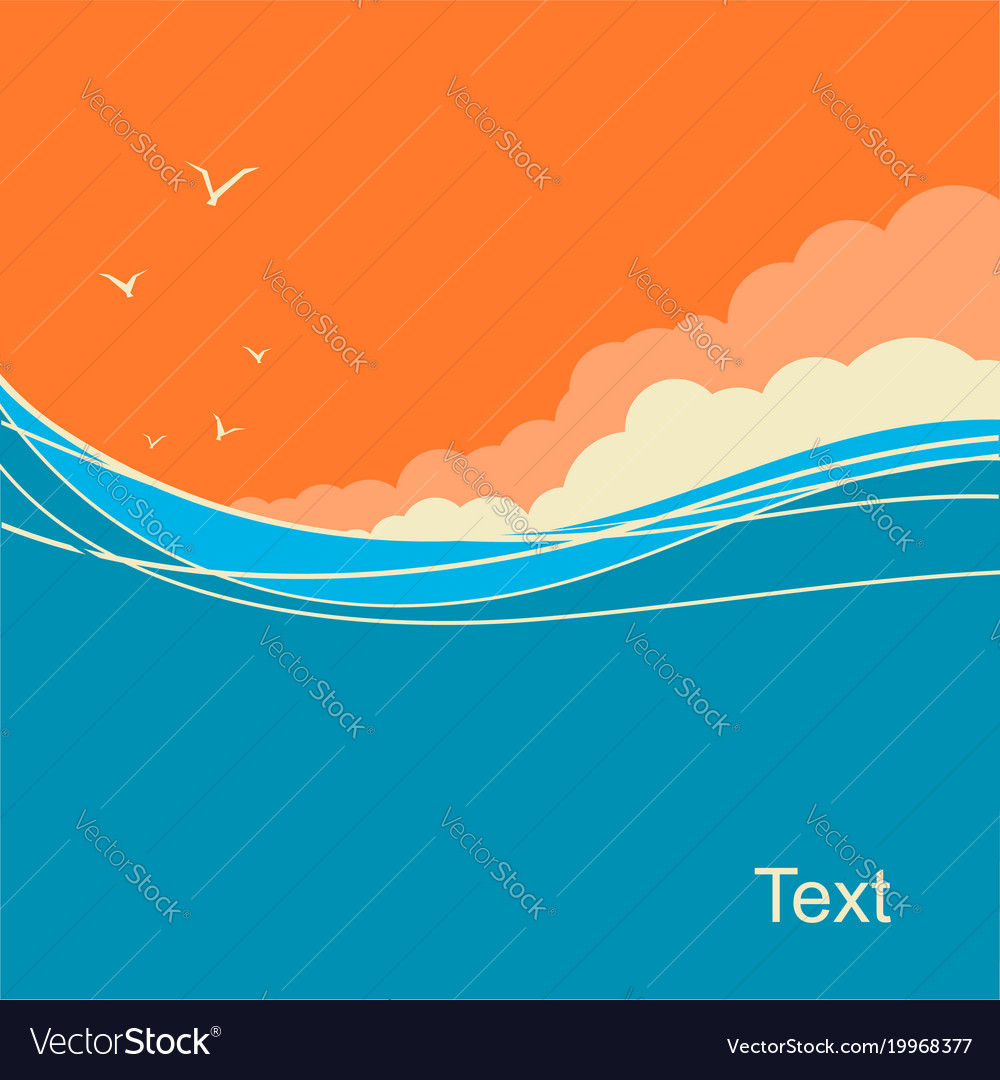 Seascape background for text ocean waves