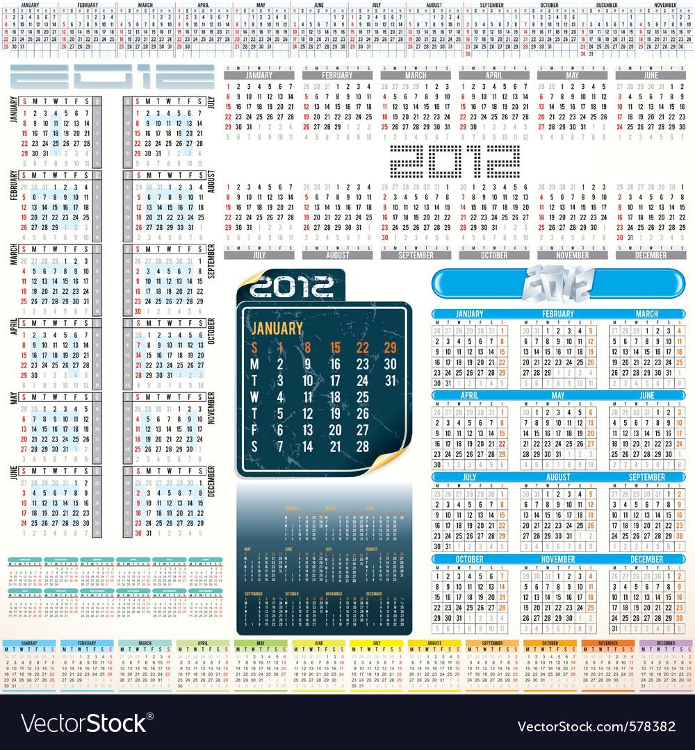 2012 year calendar grids