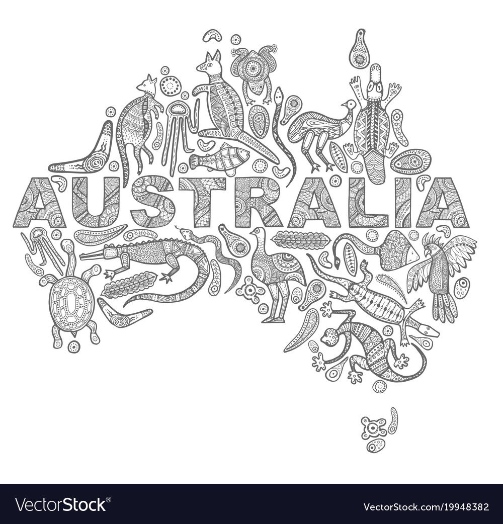 Animals Drawings Aboriginal Australian Style In Vector Image