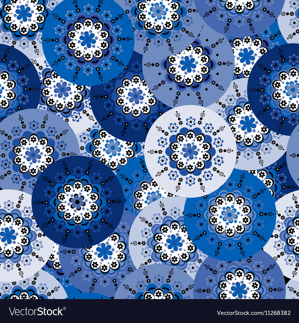 Blue background with round motifs vector image