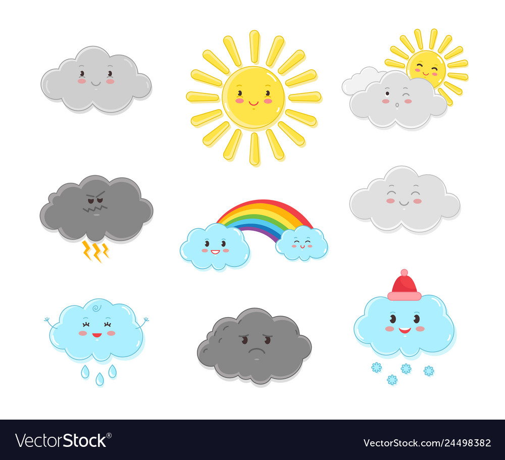 Cartoon clouds characters