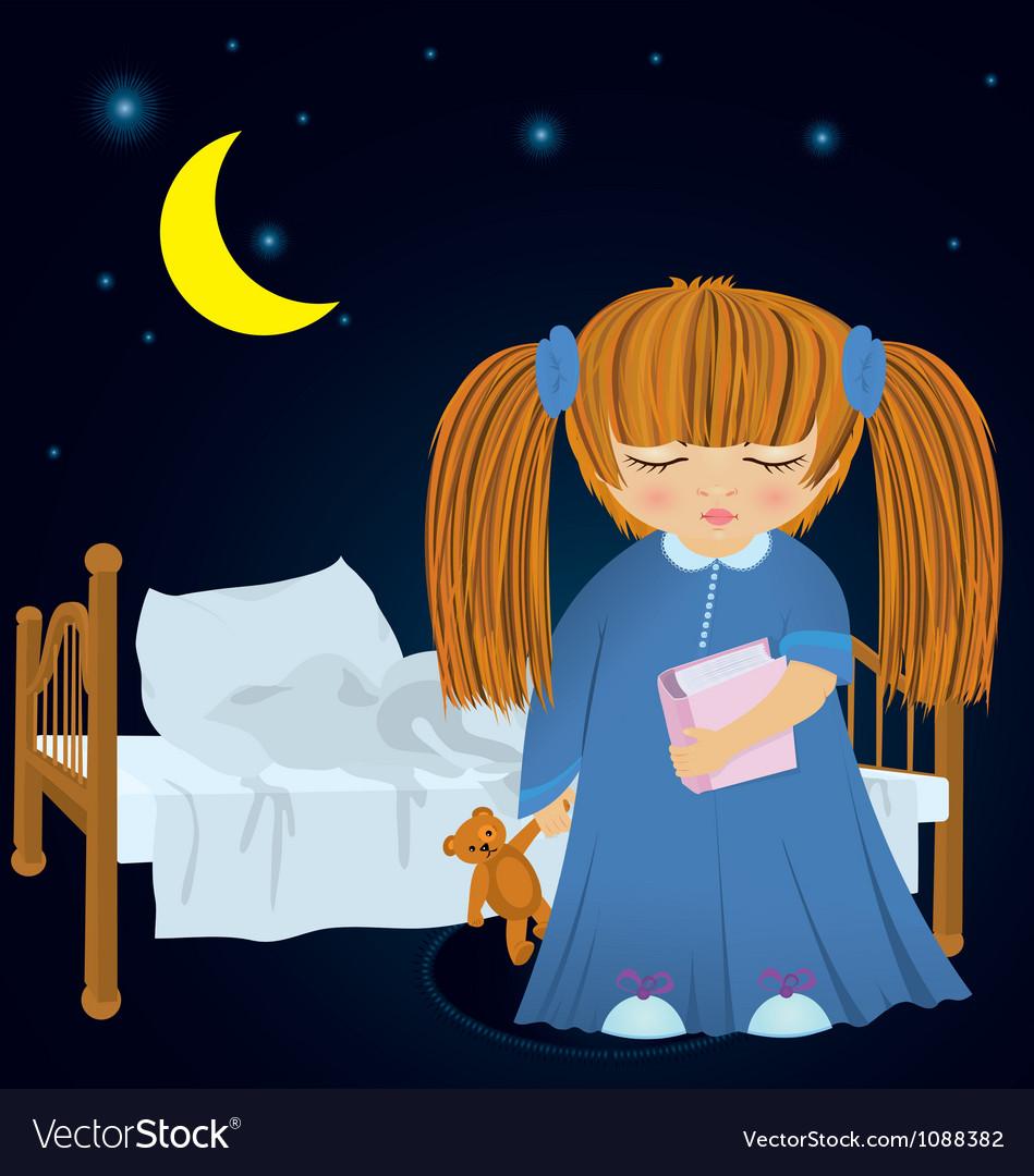 Cartoon sleepy girl near bed