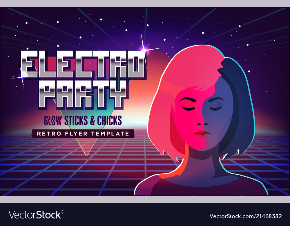 Electro party music poster template violet neon