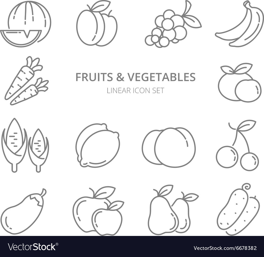 Fruits and vegetables linear icons set