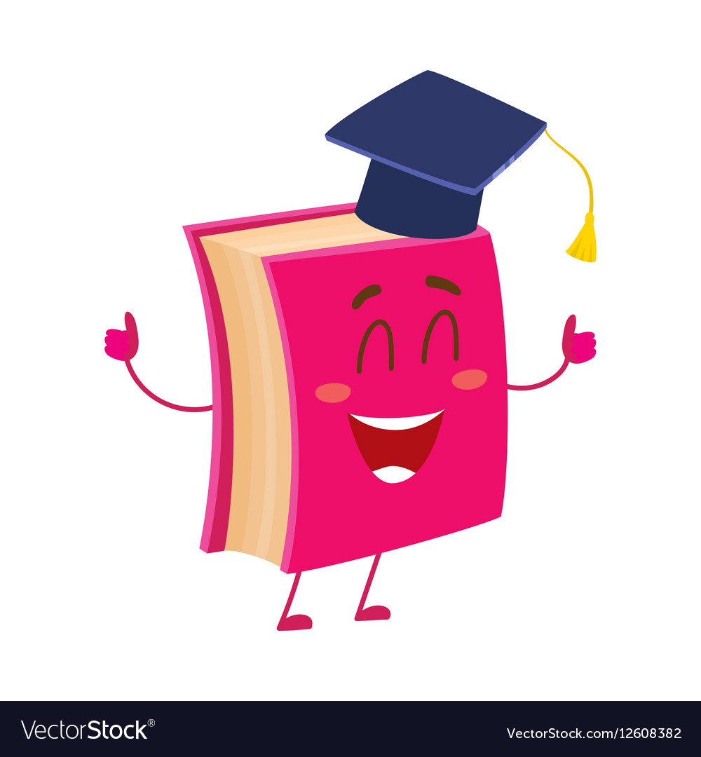 Funny book character in graduation cap showing vector image