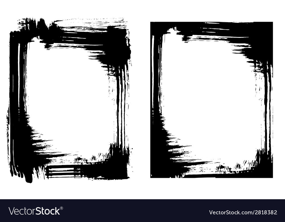 Grunge brush smear frame 2 variations