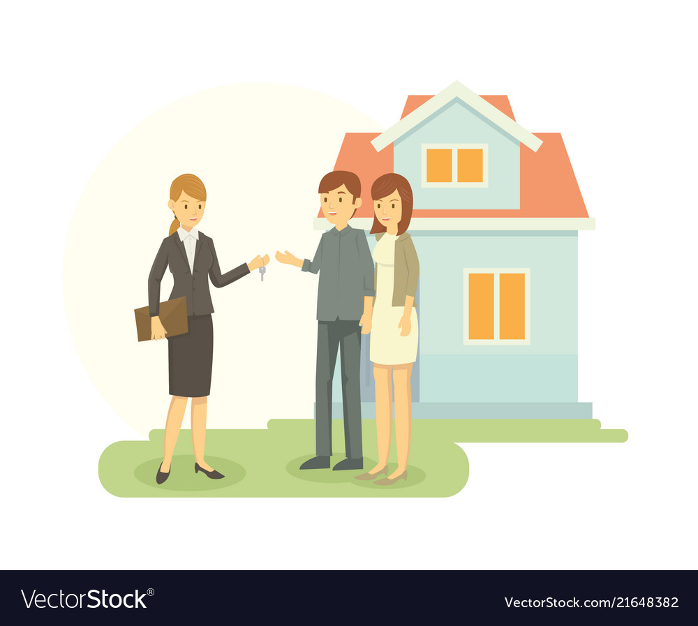 Real estate agent showing the house that he sale