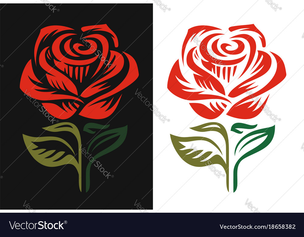 Red Rose Logo Emblem On Black And White Background