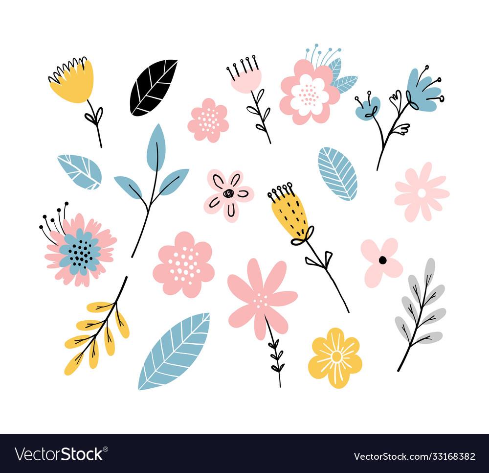 Scandinavian pattern flowers and leaves simple
