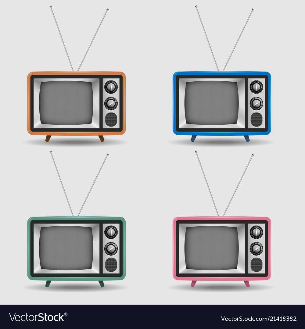 Set of realistic retro tv icons
