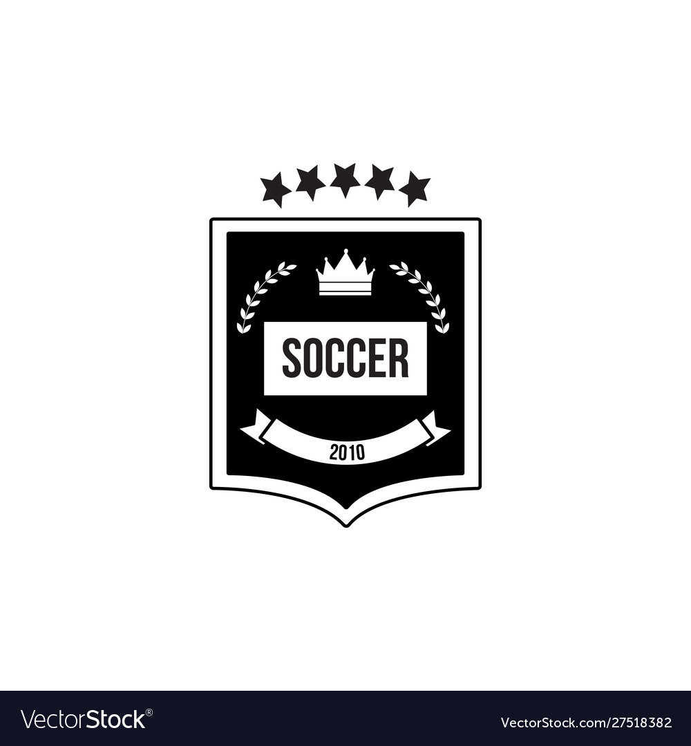 Soccer black and white badge or emblem with crown