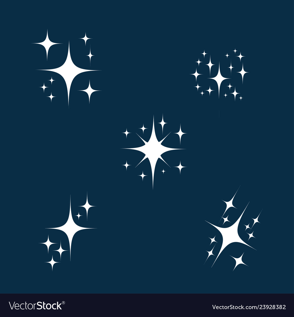 Sparkle icon set glowing or brilliant particle of