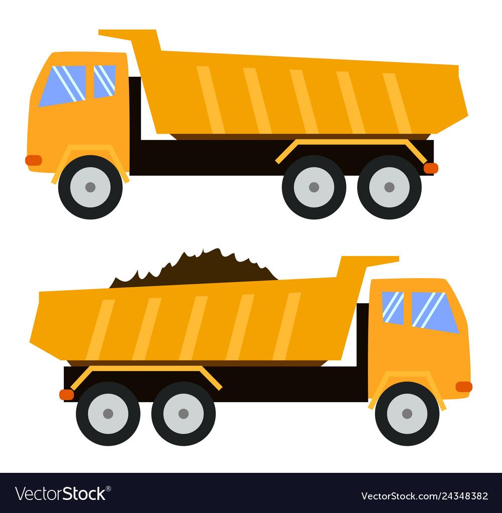 Tipper truck dump truck cartoon style childlike