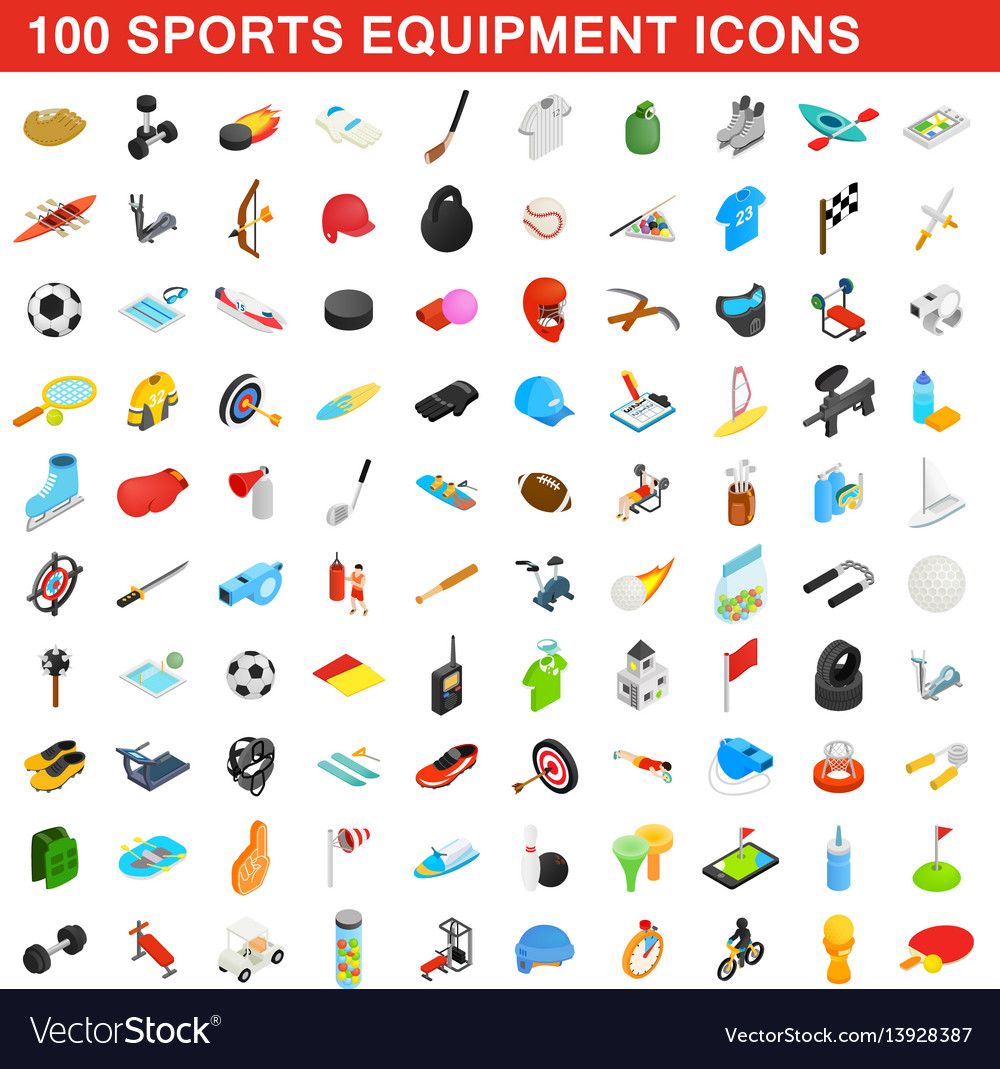 100 sports equipment icons set isometric 3d style