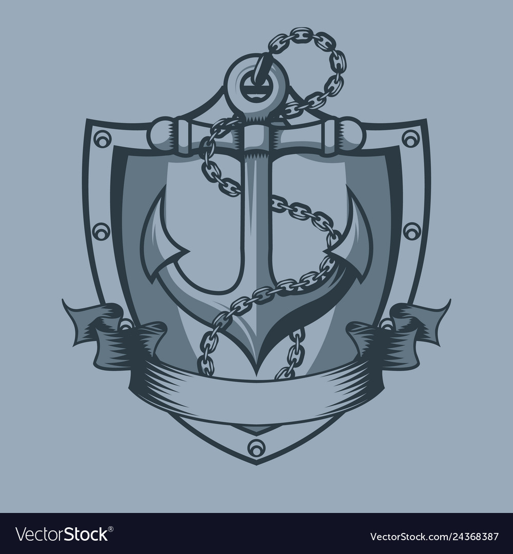 Anchor shield chain and banner tattoo style