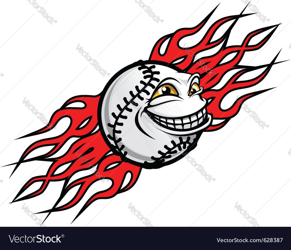 Baseball ball with flames