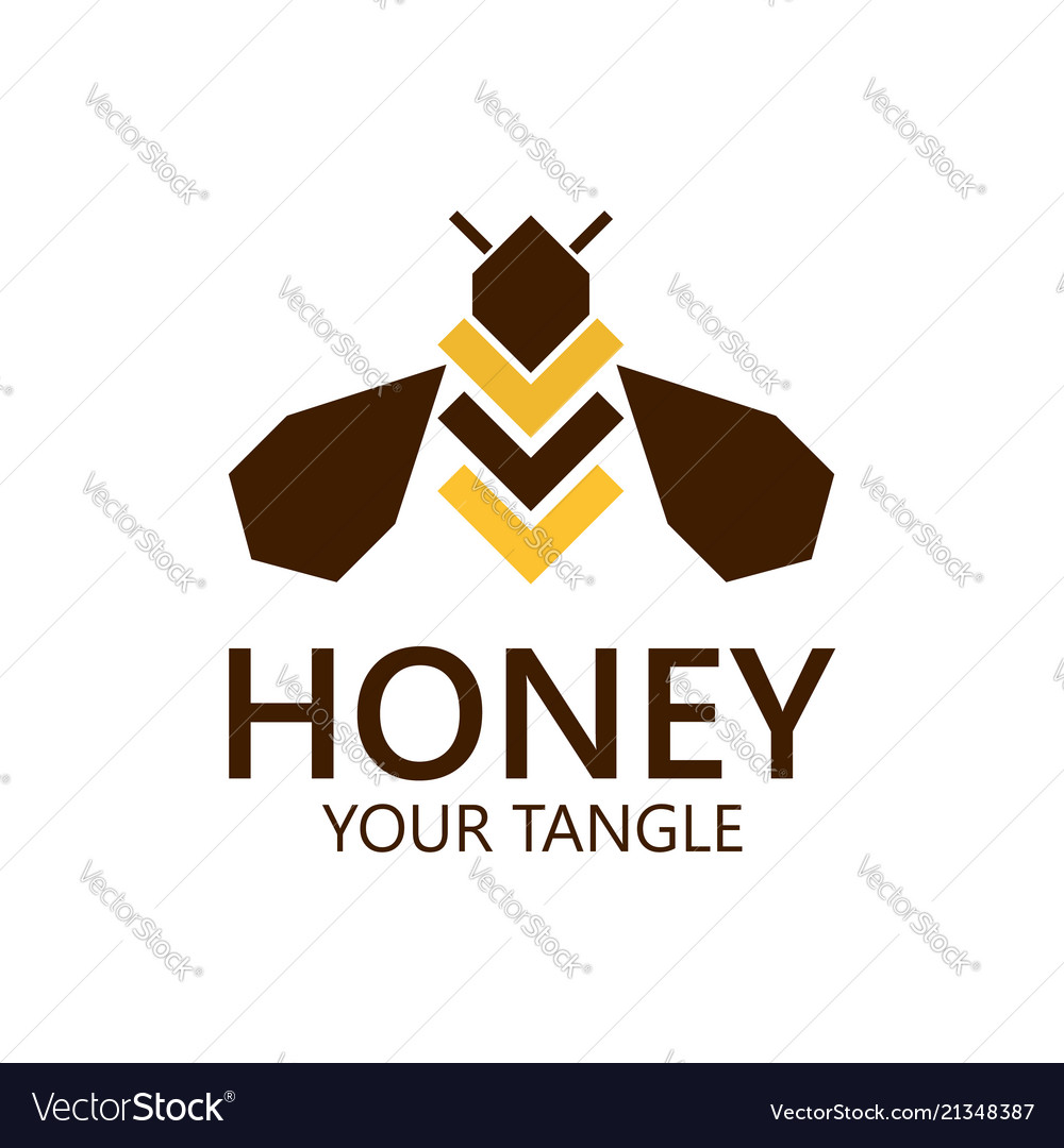 Bee label for honey logo products