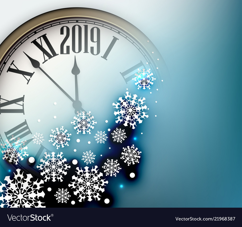 Blue 2019 New Year Background With Clock Greeting Vector Image