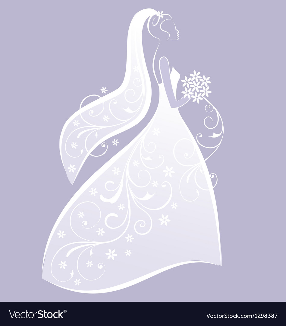 Bride In White Wedding Dress Royalty Free Vector Image