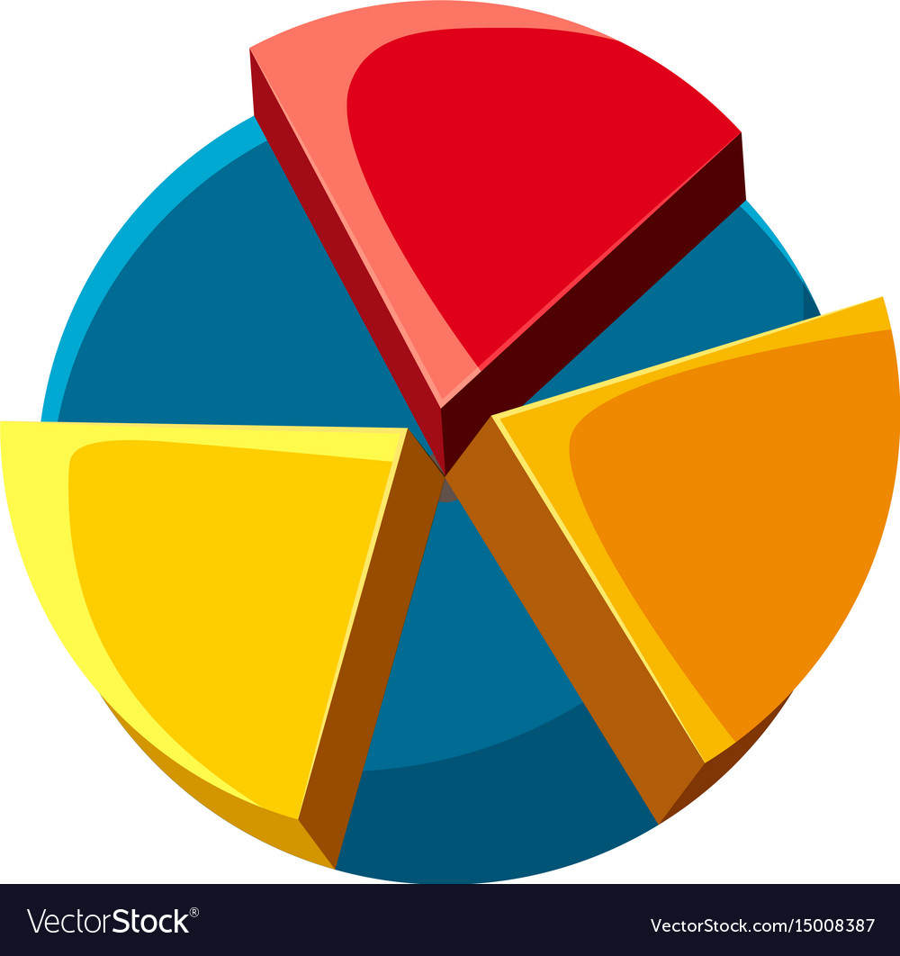 colorful pie chart icon cartoon style royalty free vector