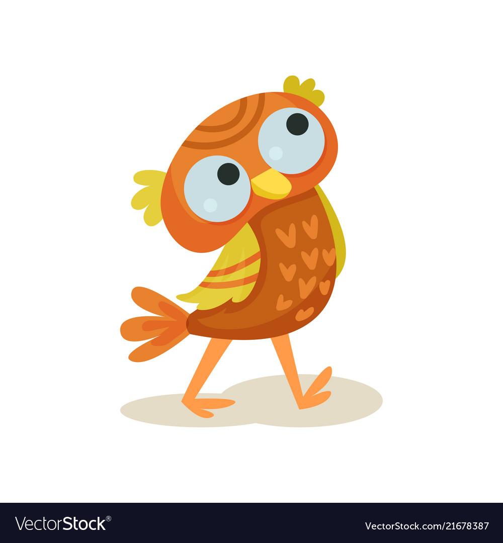 Cute owlet walking sweet orange owl bird cartoon