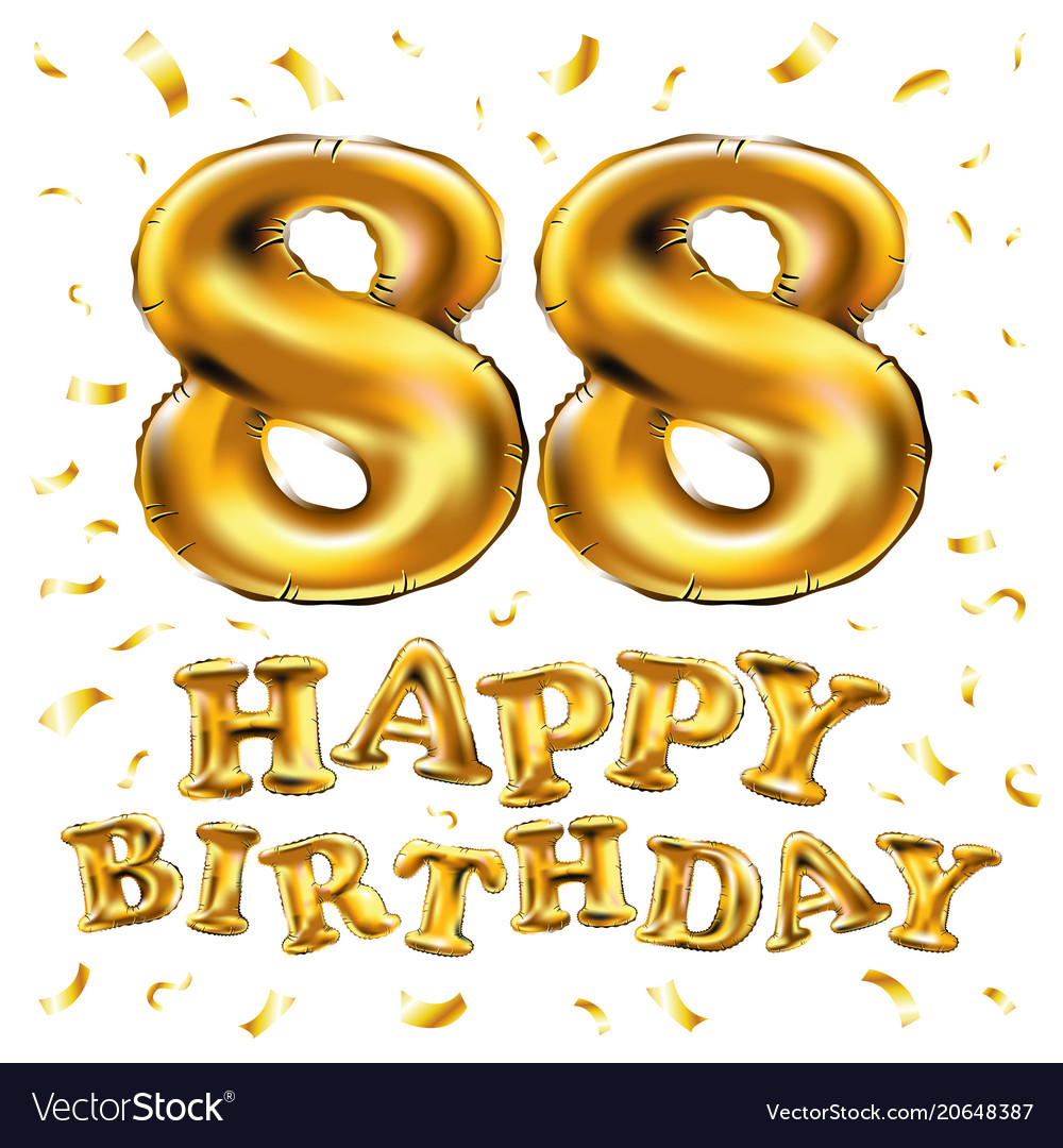 Happy Birthday 88th Celebration Gold Balloons And Vector Image
