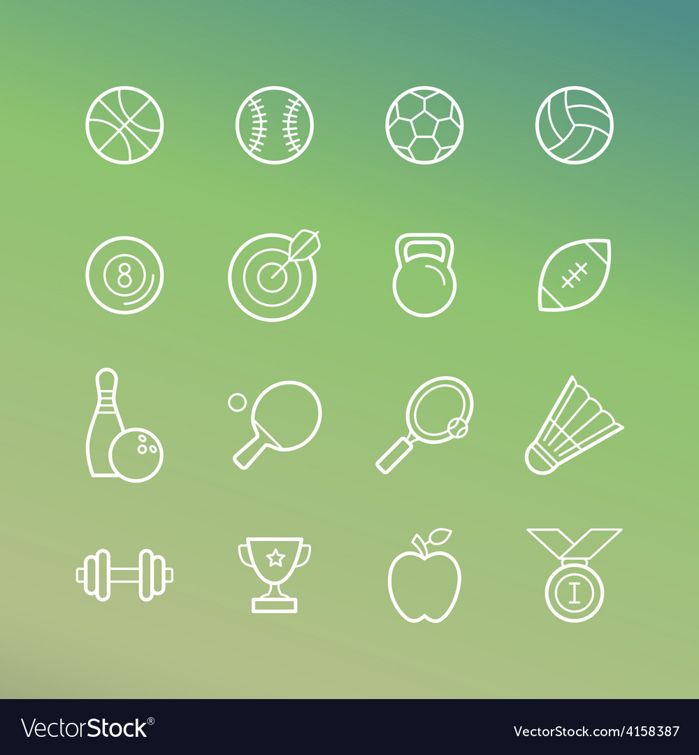 Linear sport and fitness icons