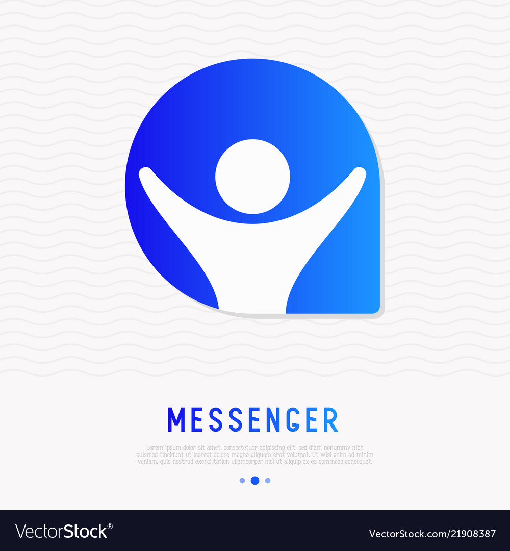 Messenger icon man with hands up in speech bubble