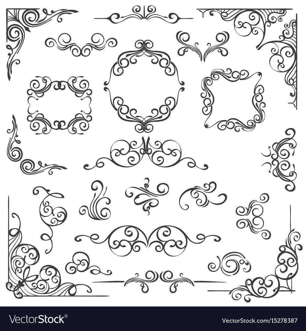 Ornate swirl frames headers and scroll elements
