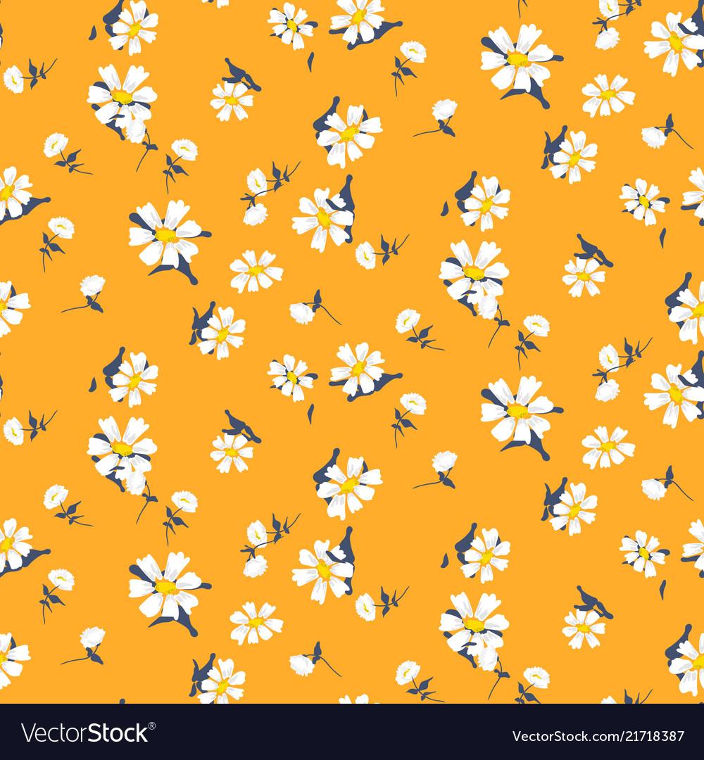 Retro daisy simple yellow florals seamless