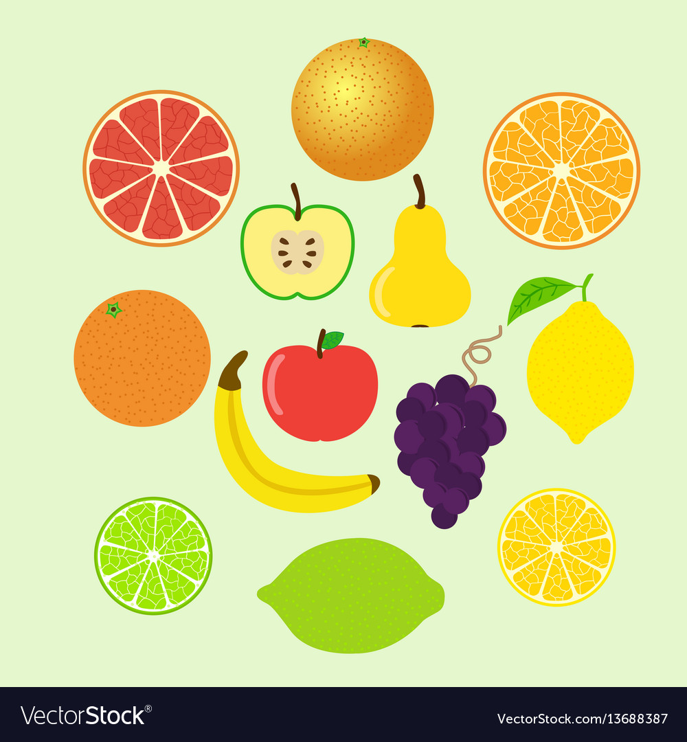 Set of colorful cartoon fruit icons whole and