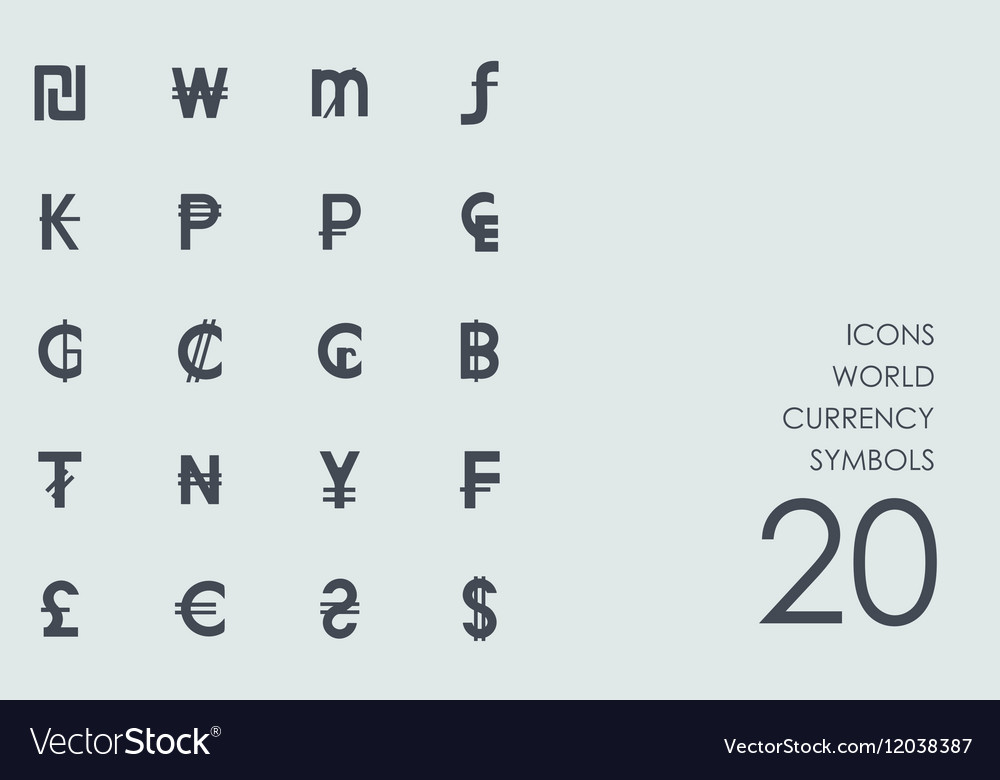 Set Of World Currency Symbols Icons Royalty Free Vector