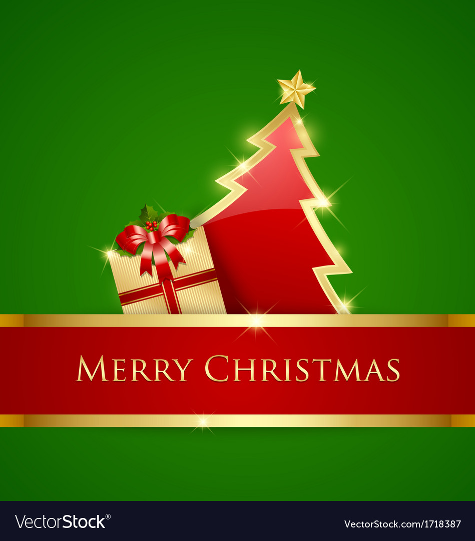 Simple Christmas tree and gift decoration vector image